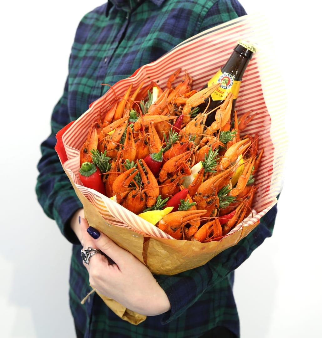 Букет с раками, вкусный пивной букетик, букетик с раками и пивом, мужской букет, съедобный букет, подарок мужчине на 23 февраля, на день рожденья