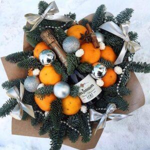 Новогодний букет с шампанским 2